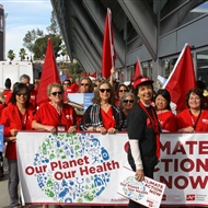 American unionised nurses march in the November 2015 climate demonstrations