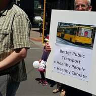Bus support at the Wellington climate march
